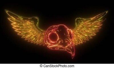 néon, vidéo, crâne, oiseau, numérique, ailes