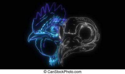 néon, vidéo, crâne, poulet, croquis, typon, numérique