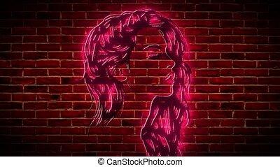 néon, vidéo, silhouette, girl, beau