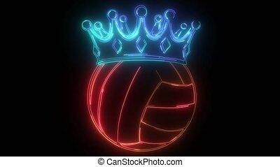 néon, vidéo, sport, balle, volley-ball, numérique, couronne