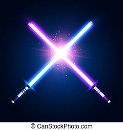 néon, violeta, batalha, azul, raios, roxo, espadas, experiência., glowing, guerra, lâminas, elementos, coloridos, space., escuro, fight., laser, illustration., luz, star., tremer, vetorial, cruzado, sabers