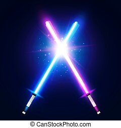 néon, war., batalha, azul, raios, roxo, flash, espadas, dois, glowing, elementos, coloridos, space., particles., fight., laser, illustration., estrela, vetorial, cruzado, luz, cruzamento, sabers