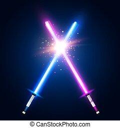 néon, war., batalha, azul, raios, roxo, flash, espadas, glowing, lâminas, elementos, coloridos, space., particles., fight., laser, illustration., estrela, tremer, vetorial, cruzado, luz, sabers