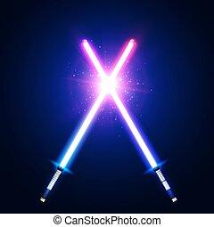 néon, war., batalha, logotipo, azul, raios, flash, espadas, dois, glowing, cor-de-rosa, elementos, coloridos, clube, space., particles., fight., laser, illustration., luz, emblem., vetorial, cruzado, estrela, cruzamento, sabers, ou