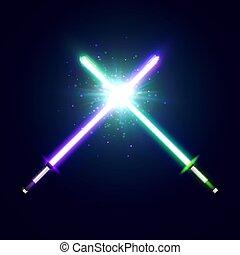 néon, war., batalha, raios, roxo, flash, espadas, glowing, verde, lâminas, elementos, coloridos, space., particles., fight., laser, illustration., estrela, tremer, vetorial, cruzado, luz, sabers