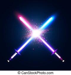 néon, war., violeta, batalha, logotipo, azul, raios, flash, espadas, dois, glowing, elementos, coloridos, clube, space., particles., ilustração, fight., luz laser, emblem., vetorial, cruzado, estrela, cruzamento, sabers, ou