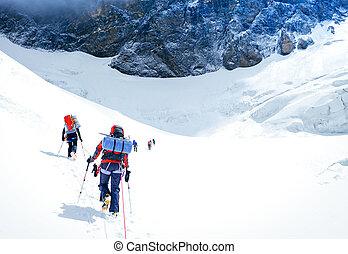 népal, groupe, grimpeurs, summit., atteindre