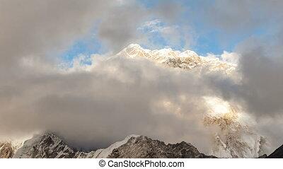 népal, montagnes, everest, nuptse, himalaya