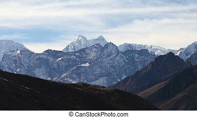 népal, montagnes, randonnée, camp., mener, himalaya, piste, base, everest