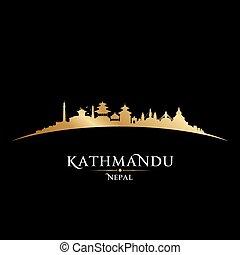 népal, silhouette, noir, ville, fond, katmandou, horizon