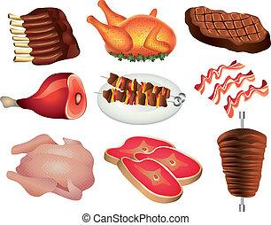 népszerű, állhatatos, termékek, hús, vektor
