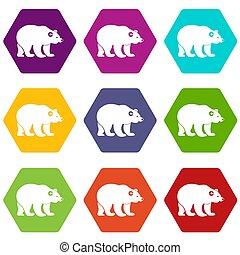 nést, ikona, dát, barva, hexahedron
