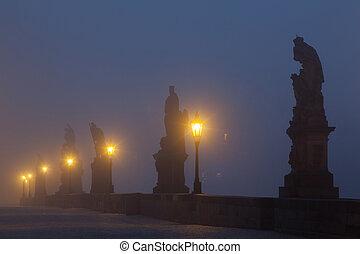 névoa, charles, famosos, ponte, praga, manhã, tcheco