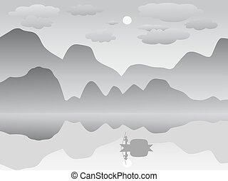 névoa, montanha, terras, lago reflexão