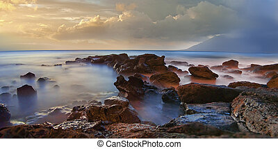 névoa, nebuloso, pedras, mar, oceânicos