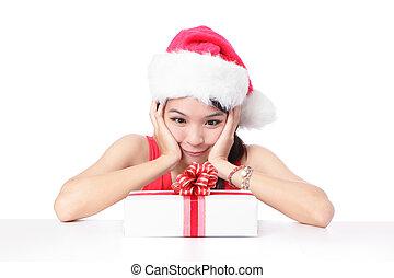 néz, tehetség, mosoly, leány, karácsony, boldog