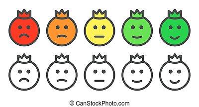 nível, ícones, satisfação, taxa, príncipe, emoji