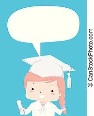 nível, ilustração, graduado, menina, secundário, criança