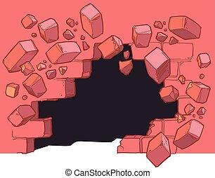 nível, parede, quebrando, buraco, tijolo, vermelho, chão