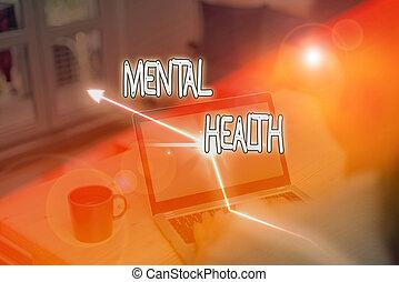 nível, showcasing, escrita, foto, mostrando, demonstrating., psicológico, mental, wellbeing, estado, health., ou, negócio, nota