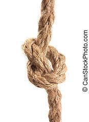nó, amarrada, por, um, corda