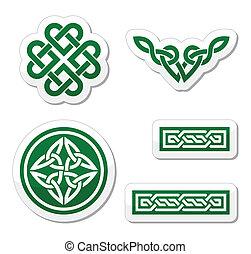 nó, celta, tranças, verde