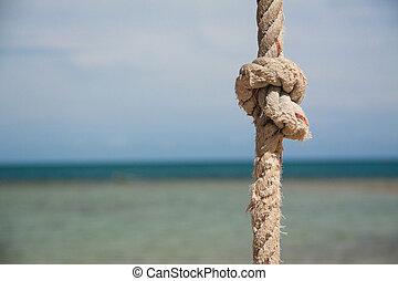 nó, ligado, a, corda, e, mar