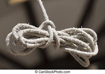nó, ligado, a, corda