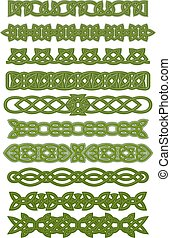 nó, padrões, celta, verde, ornamentos