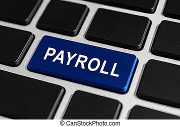nómina de sueldos, botón, en, teclado