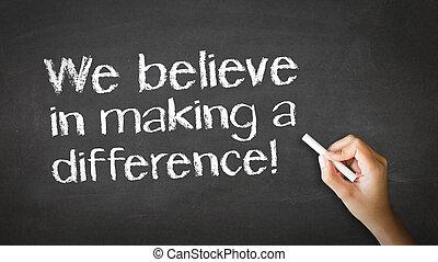 nós, acreditar, ilustração, giz, fazer, diferença