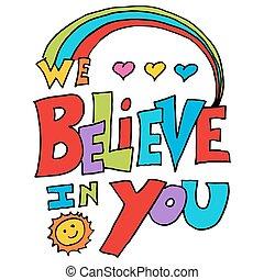 nós, acreditar, mensagem, tu
