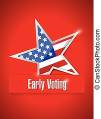 nós, cedo, votando, patriótico