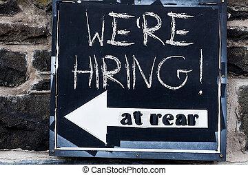 nós, conceito, recentemente, negócio, espaço, texto, sinal., particular, hiring., escrita, empregar, re, trabalho, alguém, estrada, anúncio, pagar, palavra, cópia, ou, vazio