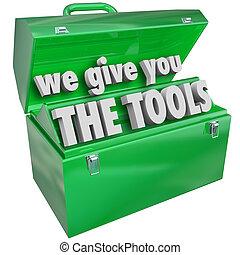 nós, dar, tu, a, ferramentas, toolbox, valioso, habilidades, serviço