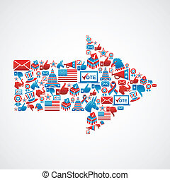 nós, eleições, ícones, em, seta, forma