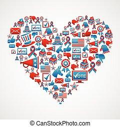 nós, eleições, ícones, forma coração