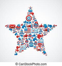 nós, eleições, ícones, forma estrela