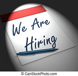 nós, empregar, recrutamento, pessoa, caderno, monitores,...