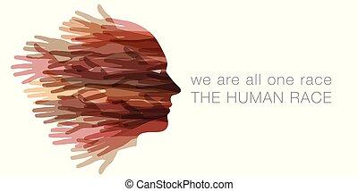 nós, human, tudo, race., um
