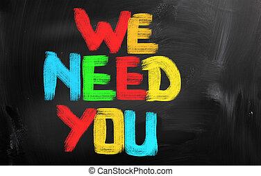 nós, necessidade, tu, conceito