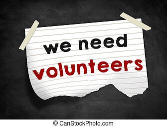 nós, necessidade, voluntários, -, nota, mensagem