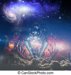 nós, partícula, deus, costas, éter, cascas, física, achar