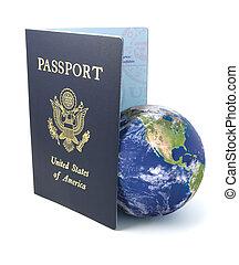 nós, passaporte, com, terra, branco