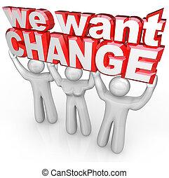 nós, querer, mudança, pessoas, elevador, palavras, protesto, demanda, melhoria
