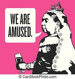 nós, rainha, illustration., victoria, divertido