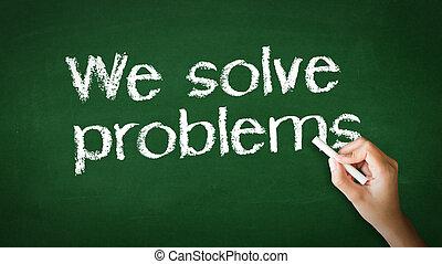 nós, resolva, problemas, giz, ilustração