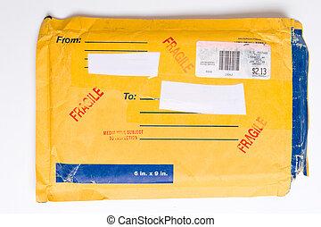 nós, serviço postal, mailer, envelope, pacote, frágil