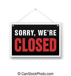 nós, sinal., ilustração, vetorial, pretas, fechado, loja varejo