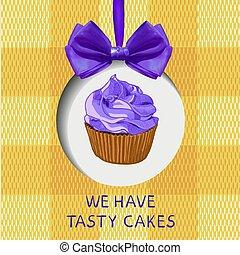 nós, ter, gostoso, bolos, mão, desenhado, vetorial, ilustração, com, doodle, cupcake, realístico, arco, e, tecido, experiência.